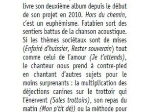 Chroniques du 2ème «album HORS du CHEMIN»